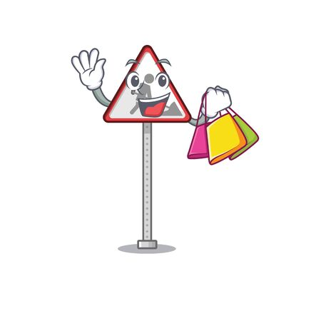 Shopping road work sign roadside the character vector illustration