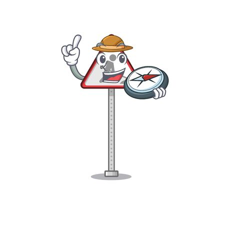 Explorer road work sign isolated the cartoon vector illustration