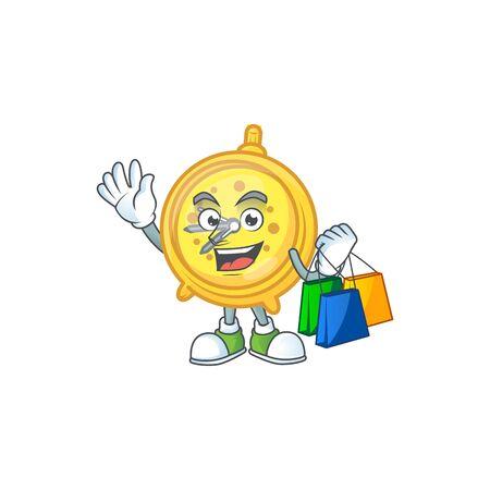 Shopping alarm clock cartoon character with mascot