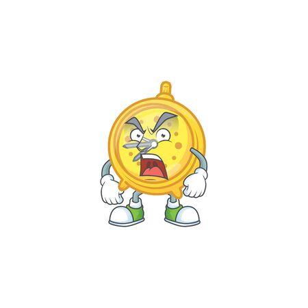 Angry alarm clock cartoon with machine classic.