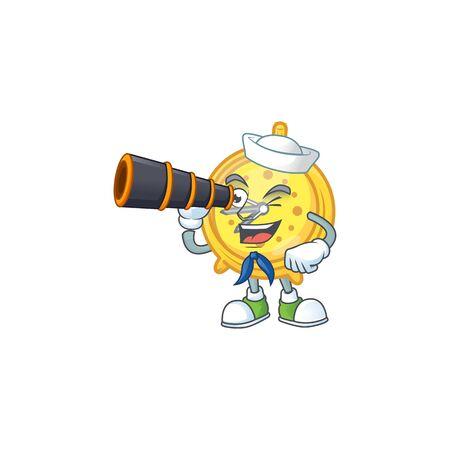 Sailor with binocular alarm clock cartoon with machine classic. vector illustration Illustration