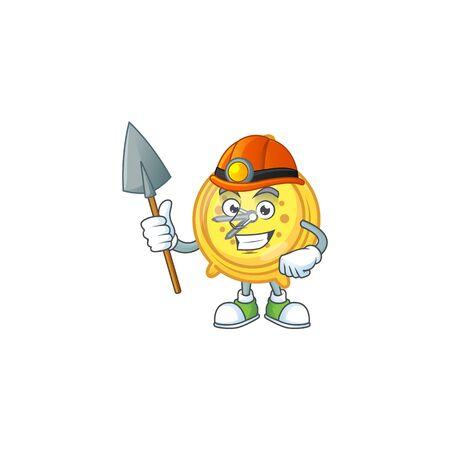 Miner alarm clock cartoon with machine classic.