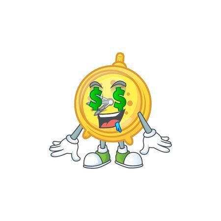 Money eye alarm clock character on white background