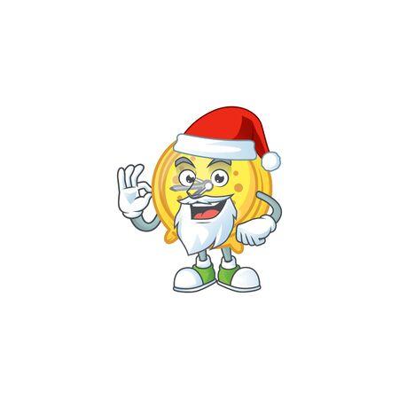 Santa alarm clock character on white background vector illustration