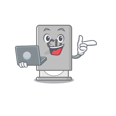 With laptop rom drive mascot isolated with cartoon vector illustration Archivio Fotografico - 130960007