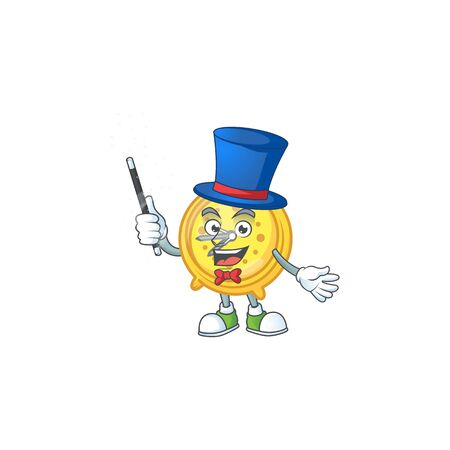 Magician alarm clock character on white background vector illustration