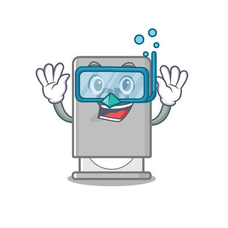 Diving rom drive above mascot wood table vector illustration 일러스트
