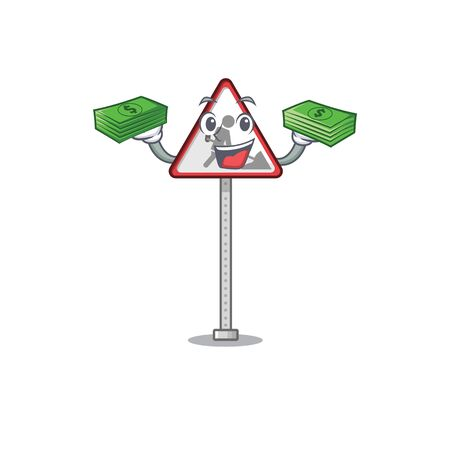 With money bag road work sign isolated the cartoon vector illustration