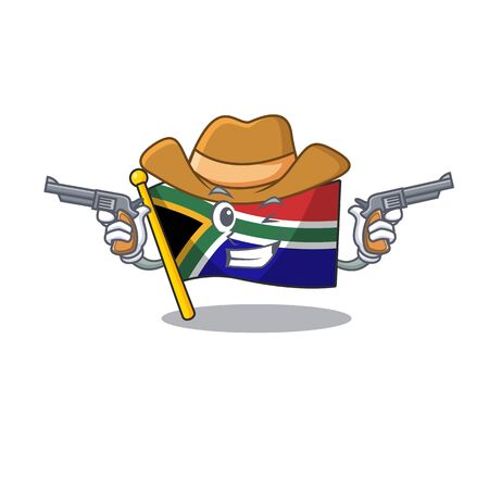 Cowboy flag south africa on a character vector illustration