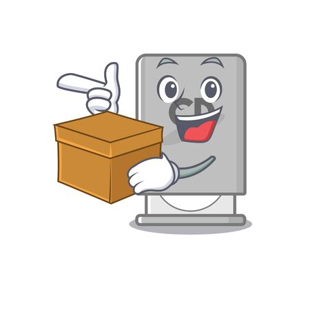 With box rom drive above mascot wood table vector illustration