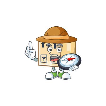 Explorer cardboard close mascot on white background Illustration
