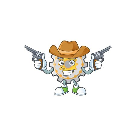 Cowboy gear machine cartoon character mascot style