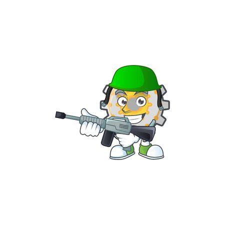 Army gear machine cartoon character mascot style vector illustration