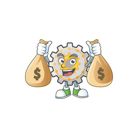 With money bag gear machine cartoon character mascot style vector illustration Ilustracja