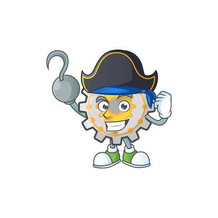 Pirate gear machine cartoon character mascot style vector illustration