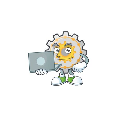 With laptop gear machine cartoon character mascot style vector illustration