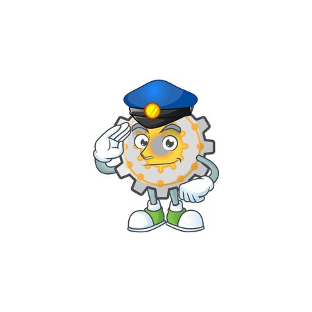 Police gear machine cartoon character mascot style vector illustration