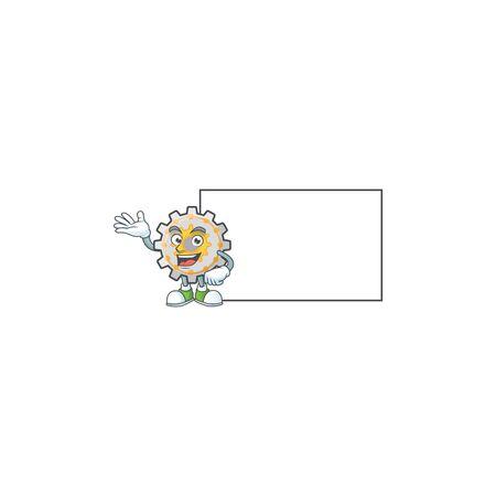 With board gear machine cartoon character mascot style Ilustracja