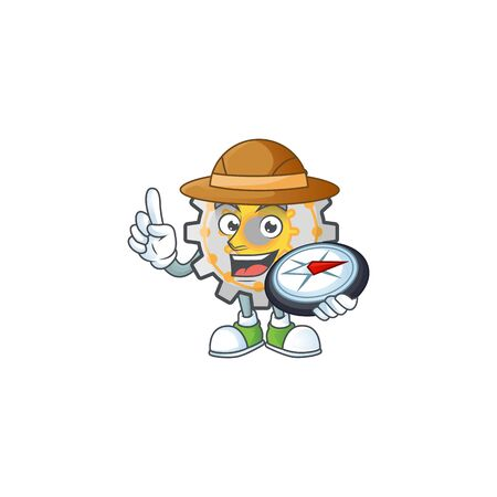 Explorer gear shape circle with cartoon character vector illustration