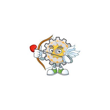 Cupid gear machine cartoon character mascot style vector illustration