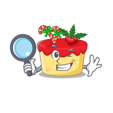 Detective christmas cookies in a mascot jar vector illustration