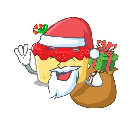 Santa with gift christmas cookies isolated with the character vector illustration