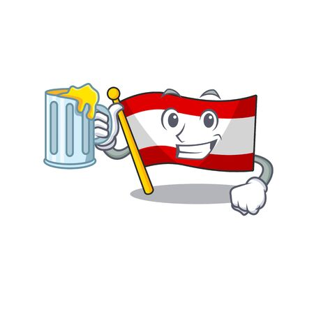With juice flag austria mascot shape the character vector illustration