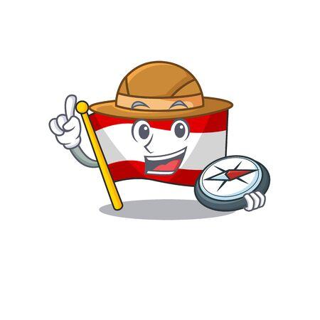 Explorer flag austria mascot shape the character vector illustration