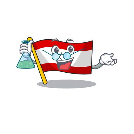 Professor flag austria flying at cartoon pole vector illustration