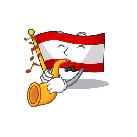 With trumpet flag austria mascot shape the character vector illustration Illustration