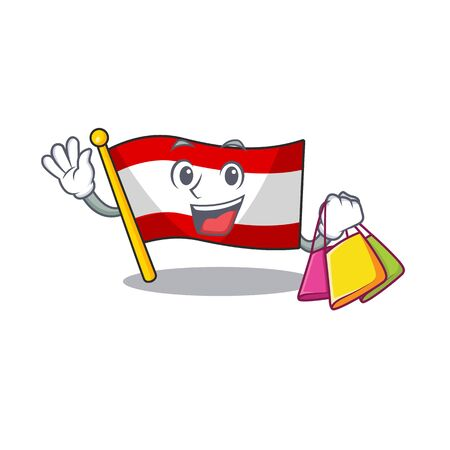 Shopping flag austria flying at cartoon pole vector illustration Illustration