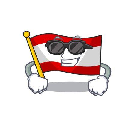 Super cool flag austria flying at cartoon pole vector illustration