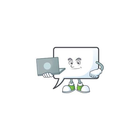 With laptop rectangle bubble icon cartoon with mascot vector illustration