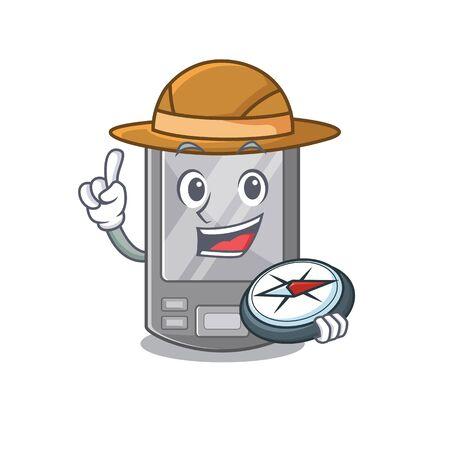 Explorer personal digital assistant with mascot shape vector illustration