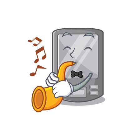 With trumpet personal digital assistant with mascot shape vector illustration Vektorové ilustrace