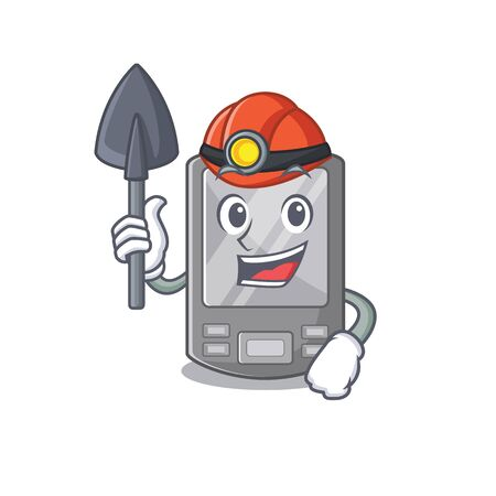 Miner personal digital assistant with mascot shape vector illustration