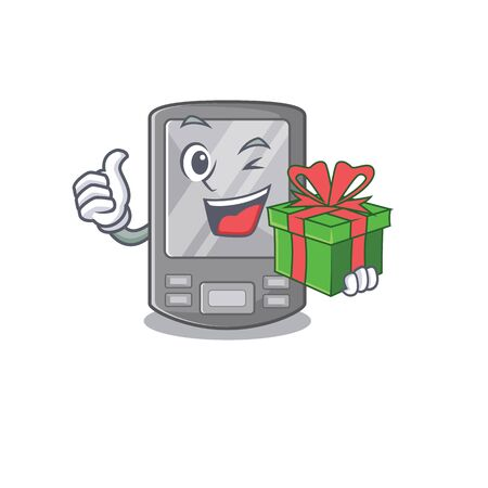 With gift personal digital assistant with mascot shape vector illustration