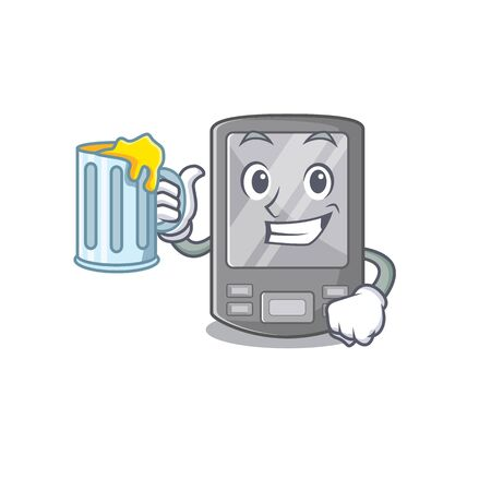 With juice personal digital assistant with mascot shape vector illustration Vektorové ilustrace