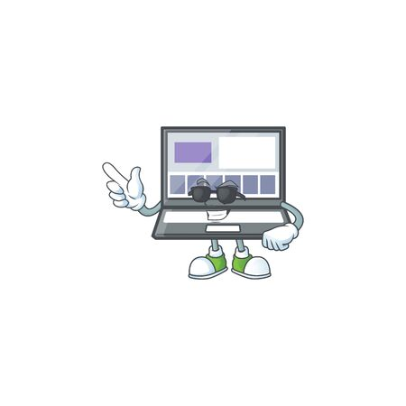 Super cool technology laptop with character mascot shape Illustration