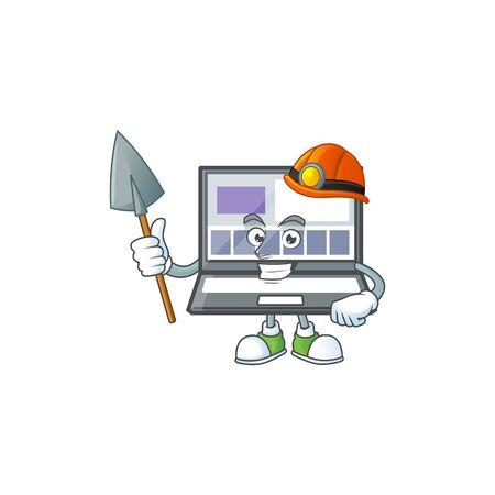 Miner laptop cartoon mascot on white background. vector illustration