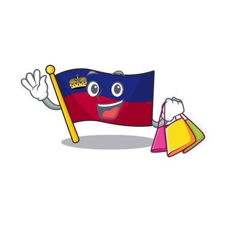 Shopping flag liechtenstein hoisted above cartoon pole vector illustration