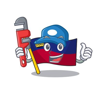 Plumber flag liechtenstein in the cartoon shape vector illustration