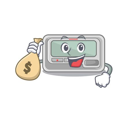 With money bag pager with in the mascot shape vector illustration