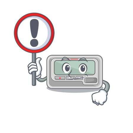With sign pager with in the mascot shape vector illustration Stock Illustratie