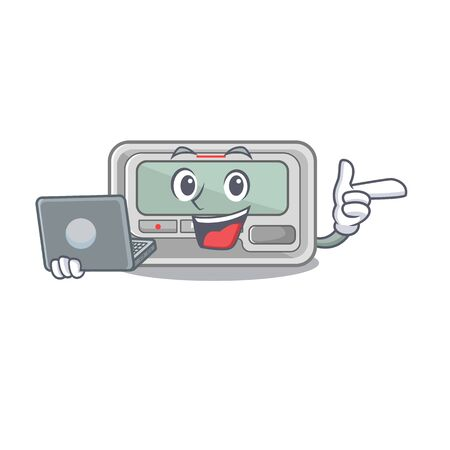 With laptop pager with in the mascot shape vector illustration Stock Illustratie