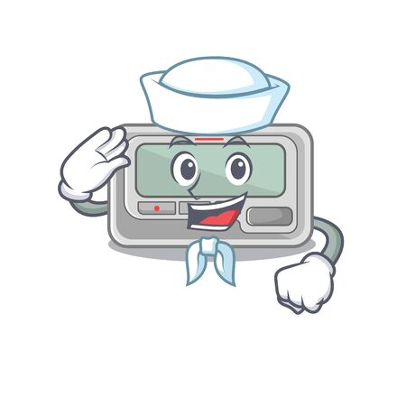 Sailor pager with in the mascot shape vector illustration