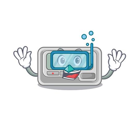 Diving pager placed above cartoon wooden table vector illustration