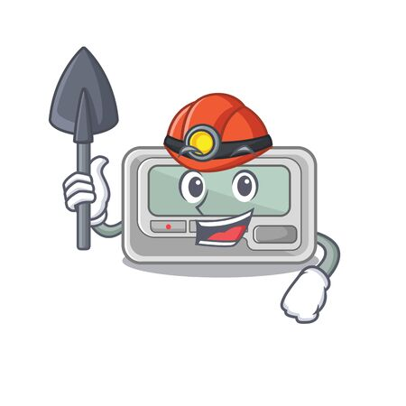 Miner toy pager in the character shape vector illustration