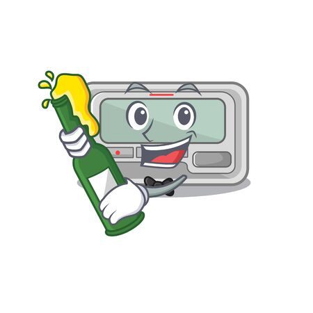 With beer pager cartoon isolated with the character vector illustration