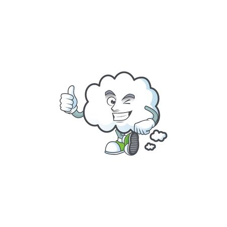 Thumbs up cloud bubble with cartoon character style vector illustration